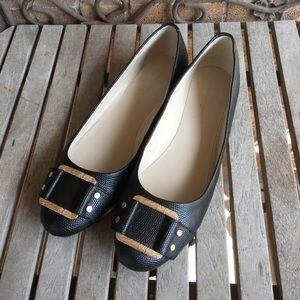 Banana Republic Black Leather Flats W/Gold Buckle